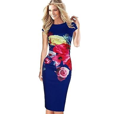 YOUBan Damen Blumen-Elegantes Kleid Gedrucktes Kleid Frauenkleid Abendkleid Party  Kleid Floral Kurzarm Lange Kleider cf1cd04a84