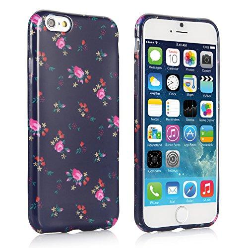 iHarbort® iPhone 6 Hülle - Weich TPU Silikon Malerei blume Hülle Case Tasche Schutzhülle für Apple iPhone 6 (4,7 zoll-Schwarz)