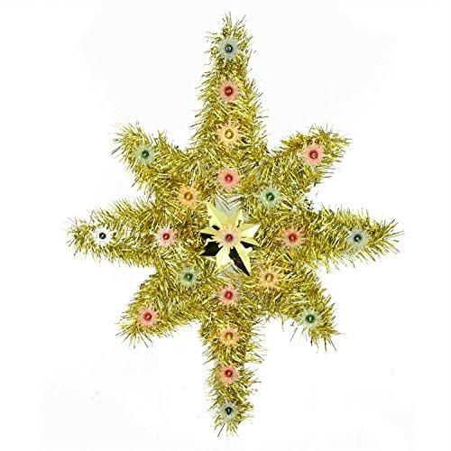 Bethlehem Christmas Tree Topper (Northlight Oversized Lighted Gold Tinsel Star of Bethlehem Christmas Tree Topper with Multicolored Lights, 21