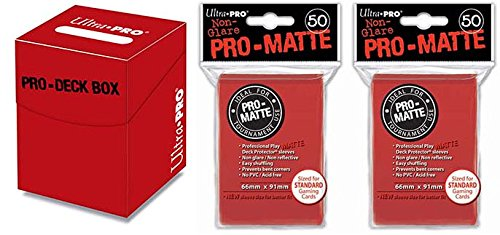 Ultra-Pro Red Pro-100 Deck Box + 100 Matte Sleeves (Set, fits Magic/MTG, Pokemon Cards)