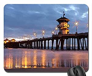 Huntington Beach Pier Mouse Pad, Mousepad (Beaches Mouse Pad, Watercolor style) by runtopwell
