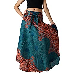 Bangkokpants Women's Long Hippie Bohemian Skirt Gypsy Dress Boho Clothes Flowers One Size Fits (Emerald, One Size)
