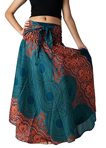 Bangkokpants Women's Long Hippie Bohemian Skirt Gypsy Dress Boho Clothes Flowers One Size Fits (Emerald, One -