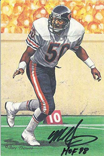 Mike Singletary Autographed Chicago Bears Goal Line Art Card Black HOF 13237 - Original NFL Art and Prints