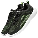 VSDANLIN Men's Breathable Knit Running Shoes Lightweight Athletic Shoes Outdoor Sneakers (47 M EU/13 D(M) US, Black/Green)