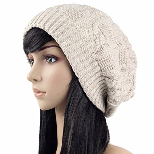 Stretch Cable Slouchy Knit Beanie Skully Cap Winter Hat (Knit Slouch Hat)