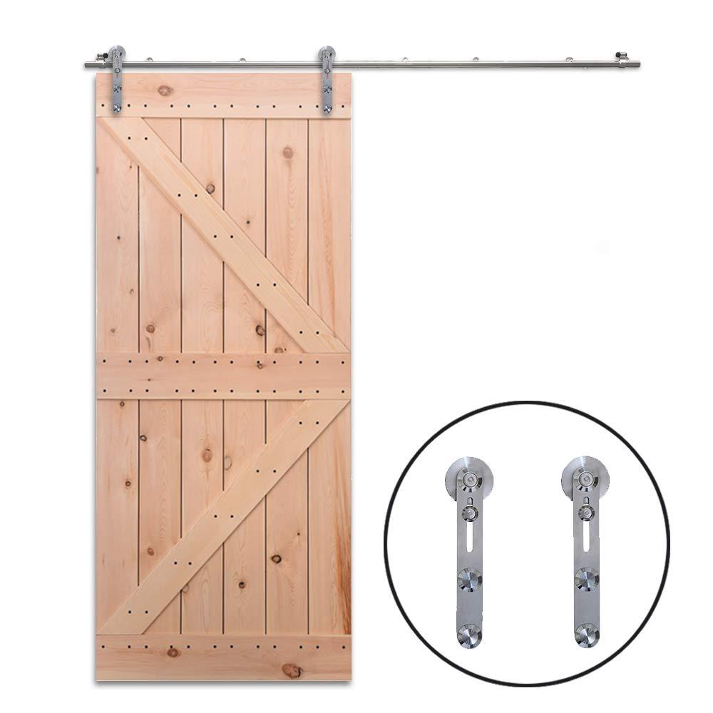 Stainless Steel Sliding Barn Single Door Hardware Kit For Wood//Glass Door 10.5FT//320cm Schiebet/ürbeschlag Set Schiebet/ürsystem Zubeh/örteil Stahl