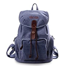 DouGuYan Women Casual Cotton Solid Canvas Backpack Travel Rucksack School Satchel Hiking Bag Fit In 13 Inches Computer (Blue)