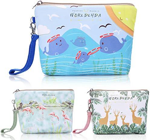 WORLDLYDA Ladies Women Canvas Travel Makeup Bag Portable Print Cosmetic Pouch Clutch Organizer Toiletry Handbag