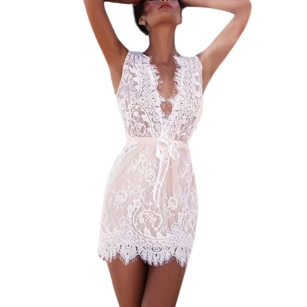 Go-First Women's Leisure White Dress Cozy Breathable Sleeveless Sexy V-Neck Short Dress Summer Fashionable Lace Irregular Hem Dress (Color : White, Size : L)