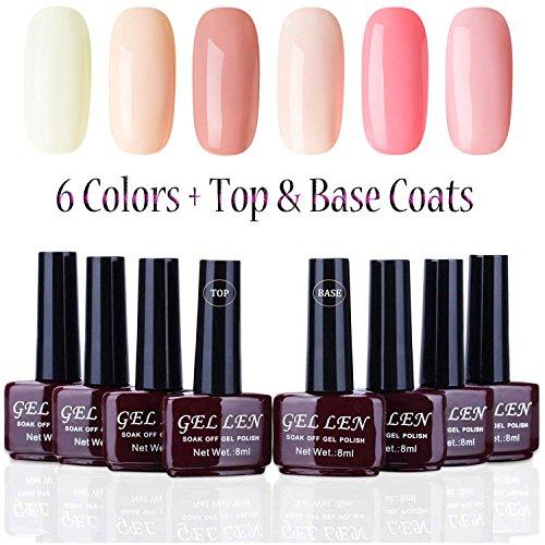 Gellen UV Gel Nail Polish New Trend 6 Colors + Top Base Coat