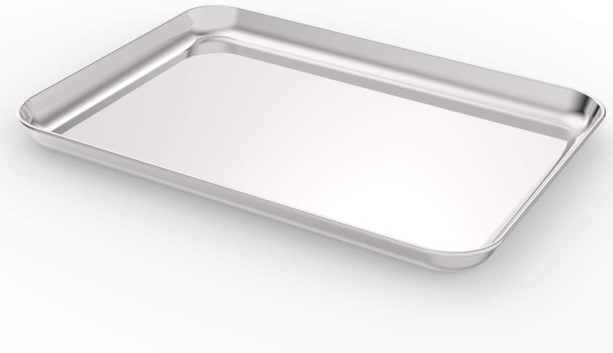 HEAHYSI Stainless Steel Compact Toaster Oven Pan Tray Ovenware Professional, 12.5x9.8x1inch, Heavy Duty & Healthy, Deep Edge, Superior Mirror Finish, Dishwasher Safe