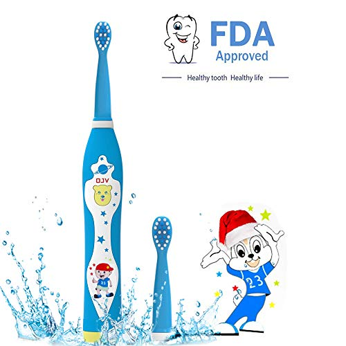 Sonic Rechargeable Electric Toothbrush for Kids with 2 Dental Care Modes 4 Songs and 2 Replaceable Brush Heads,2 Min Timer,...