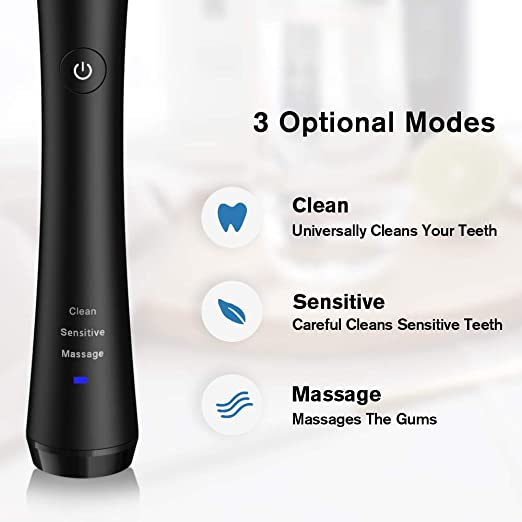 Amazon.com: Electric Toothbrush for Adults Rechargeable Rotating Toothbrush with 2 Brush Heads,Power Spin Toothbrush with 3 Modes and Smart Timer for Teeth ...