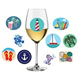 Twerp 10 Beach-Themed Wine and Cocktail Glass Markers - Static Cling Reusable Stickers - Great Alternative to Wine Charms