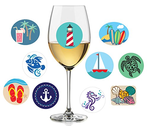 Set of 10 Beach-Themed Wine Charms | Static Cling, Reusable Stickers | Fun Beach Wine Glass Stickers and Summer Party Favors and Decorations | Great Alternative to Wine Glass Charms