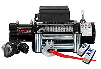 X-BULL12000lbs 12V Electric Recovery Winch Truck SUV Car Wireless Remote Control Kit