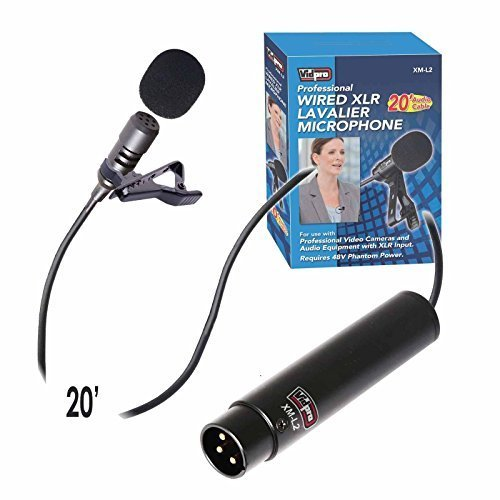 Vidpro XM-L2 XLR Lavalier Microphone for DSLRs, Camcorders & Video Cameras 20' Audio Cable by VidPro