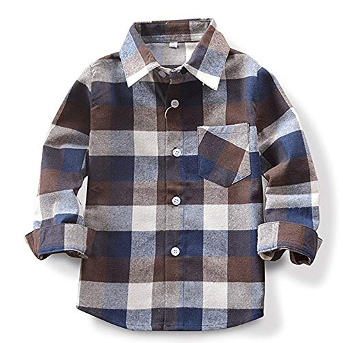 Toddlers Baby Boys Red Plaid Flannel Shirt with Button Down Baby Boy Clothes Set 1-2T