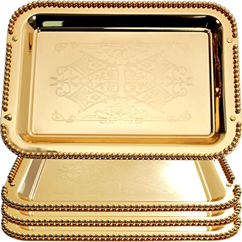 Maro Megastore (Pack of 4) 16.9-Inch x 11.8-Inch Rectangular Iron Gold Serving Tray Heavy and Sturdy Floral Engraved Decorative Wedding Birthday Buffet Party Dessert Decor Party Wine 2520 M Ts-007
