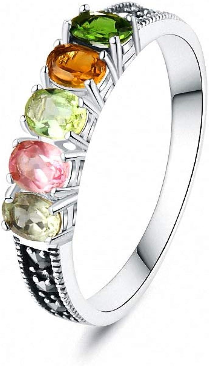 Lotus Fun S925 - Anillo de plata de ley con piedras preciosas naturales simples y estilosas, turmalina coloreada, anillo de varias opciones de tamaño, personalidad, joyas para mujeres y niñas