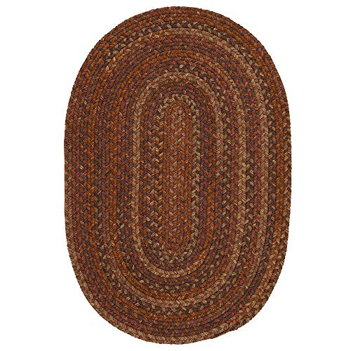 1 Piece 5' x 7' Oval Farmhouse Rustic Floral Geometric Pattern Wool Area Rug, Traditional Border Stripe Design Latex Free Hand Woven Braided Rug, Classic Multi Colored Russet Orange Brown Area Rug ()
