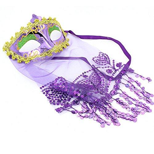 Longra ♥♥Máscara de Víspera de Todos los Santos, Princesa Masquerade Props púrpura