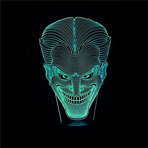 3D Deco Lamp Lighting - Halloween Kids Gift Jack Smile Face 3D Lamp Movie Character Laughing Joker Desk Lamp with 7 Color Night Light Halloween -