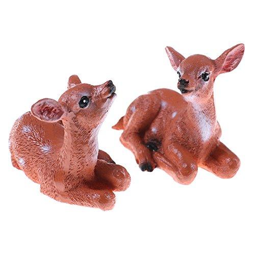 2 Pcs Mini Deers Fairy Garden Kits Figurines for Miniatures Ornaments Accessories Fairies Gardens House Terrarium Kit Dollhouse Supplies Outdoor Decorations ()