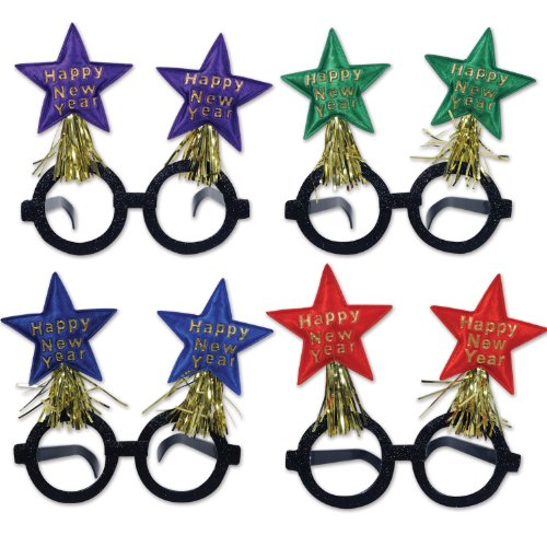 [Beistle 80364-ASST Assorted Happy New Year Star Bopper Glasses] (Happy New Year Boppers)