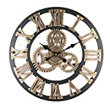 TIANYI Wall Clocks Retro Handmade Decorative Gear Wooden Mechanism Wall Clock Luxury Art Large Gear Wall Clock On The Wall for Gif (Golden 17.7*0.79*17.7inches/45*2*45cm)