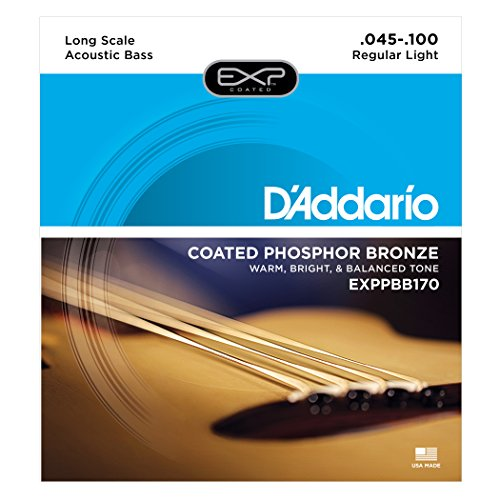 Daddario Coated Bass - D'Addario EXPPBB170 Phosphor Bronze Coated Acoustic Bass Strings, Long Scale, 45-100