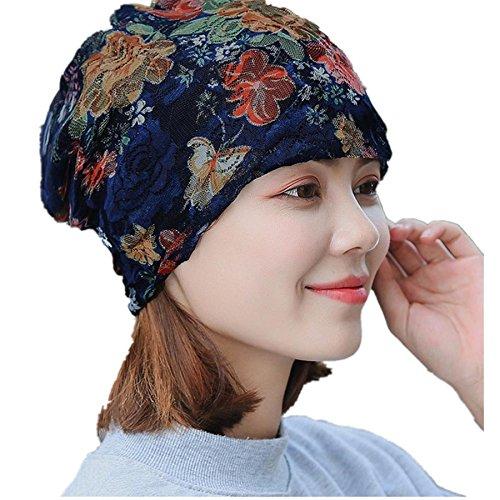 Lace Wool Hat - Womens Head Scarf, India Muslim Scarf Hat Lightweight Stretch Turban Hat Lace Floral Print Hair Wrap Headwear (Navy 001)