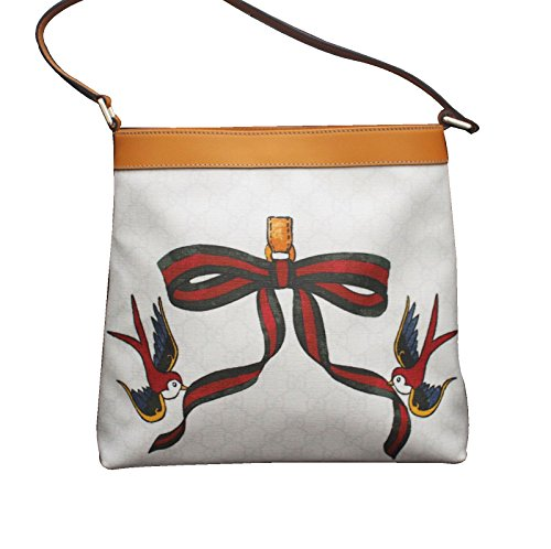 Gucci White Canvas Bird Ribbon Tattoo Handbag Meier Hobo Bag 254639 9075 (Gucci Tattoo)