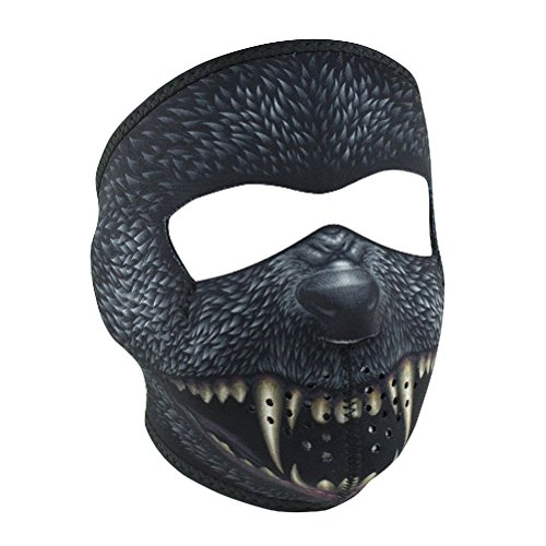Black Silver Bullet Werewolf Neoprene Full Face Mask Biker Costume Party Reverse by ZIZI SPORTS SUPPLY