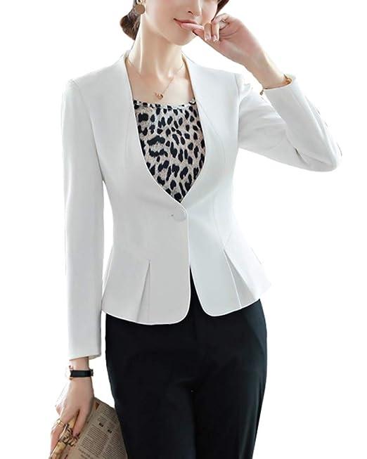 ShiFan Pantalon Y Chaqueta Mujer Elegante Blazer Formal Negocios Oficina Americana Abrigos Entallada: Amazon.es: Ropa y accesorios