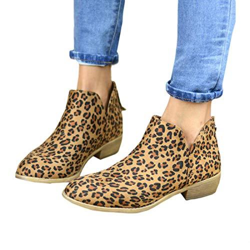 PiePieBuy Women's Top Fashion Pointed Toe Ankle Boot Winter Low Heel Side Split Stacked Booties (7 B(M) US - EU Size 38, Leopard Print-2)
