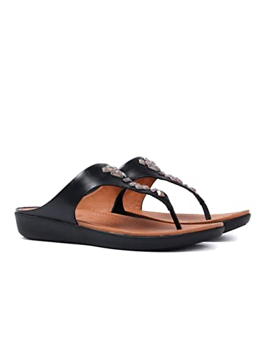 457f9b1f396 Fitflop Banda Crystal Leather Toe Thong Sandals - Black