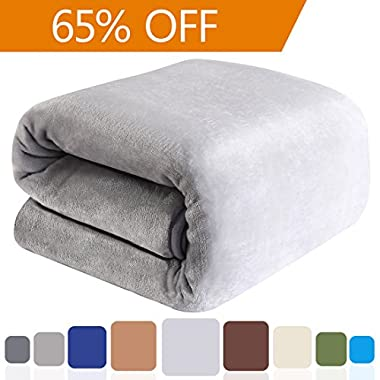 Balichun 330GSM Fleece Lightweight Travel (50-Inch-by-61-Inch) Bed Blanket - Linen