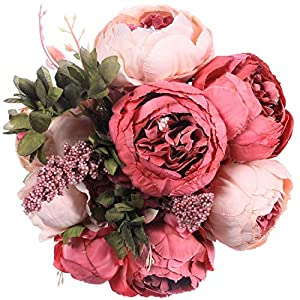 Luyue Vintage Artificial Peony Silk Flowers Bouquet Home Wedding Decoration (Dark Pink Bud) 27