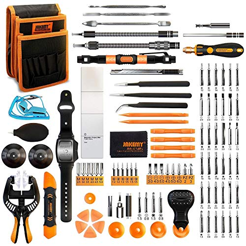Maintenance Computer Tools (107 in 1 Screwdriver Set, Flexible Shaft, Repair Tool, Jakemy 54 Magnetic Driver Bits, Repair Tool kit, Pocket Tool Bag for iPhone X, Computer, Macbook, Cell Phone, PC, Laptop {Upgraded Version})