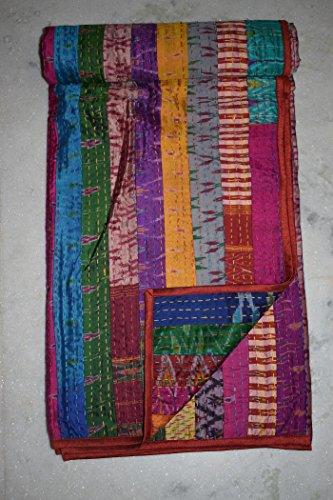 Indian Patola Silk Patch Work Kantha Quilt Kantha Blanket Bedspread Twin Quilt