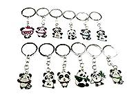 Set of 12 Cute Mini Cartoon Metal China National Treasure Panda Themed Keychain Pendant for Kid Toy Ornament Souvenirs