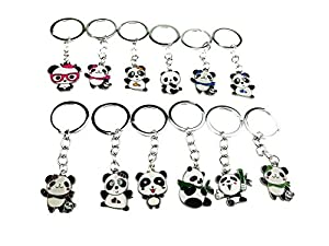 Set of 12 Cute Mini Cartoon Metal China National Treasure Panda Themed Keychain Pendant for Kid Toy Ornament Souvenirs