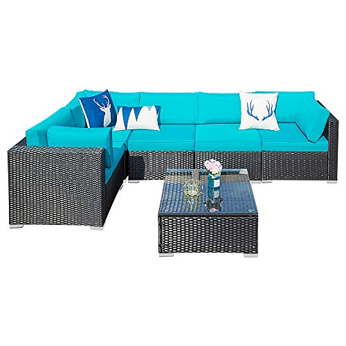 Outdoor Patio Sectional Sofa-6 Piece Rattan Wicker Furniture Set with Blue Cushion (108W X 58L)
