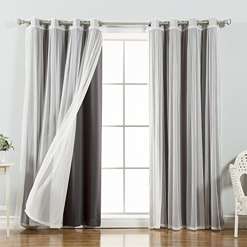 Best Home Fashion Mix & Match Tulle Sheer Lace and Blackout Curtain Set – Stainless Steel Nickel Grommet Top – Dark Grey – 52