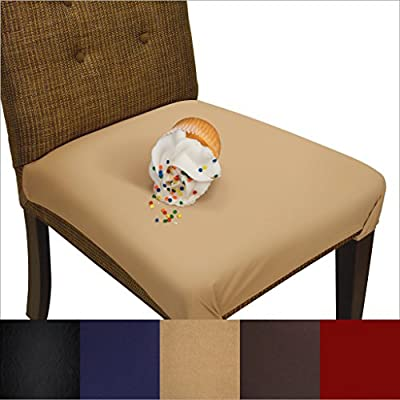 SmartSeat Dining Chair Cover and Protector (Sandstone Tan), Removable, Waterproof, Machine Washable, Stain Resistant, Soft, Comfortable Fabric for Kids, ...