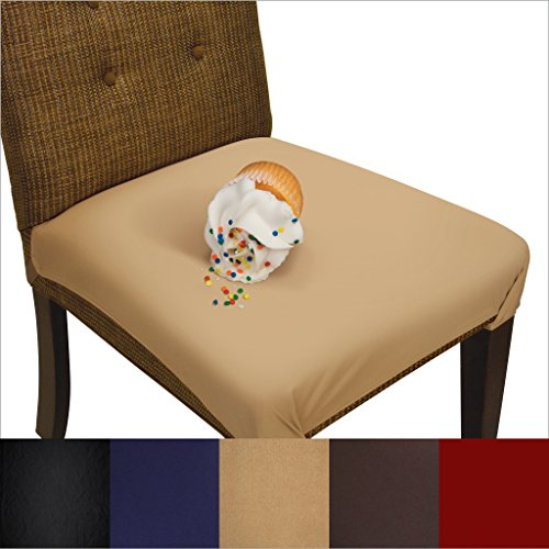 SmartSeat Dining Chair Cover and Protector (Sandstone Tan), Removable, Waterproof, Machine Washable, Stain Resistant, Soft, Comfortable Fabric for Kids, Pets, Entertaining, Eldercare ()