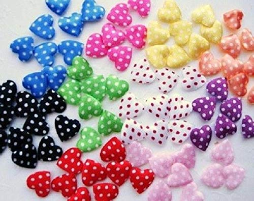 - Fashion Fabric - 200 Mix Mini Felt/Satin Heart Applique/Polka dot/Valentine/Craft/Fabric/Bow h69 - Complete Your Projects with Beautiful Trims