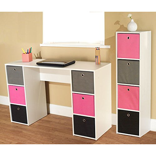 Simple Living Jolie Pink Theme 6-bin Writing Desk with 4-bin Bookcase Set by Simple Living Products
